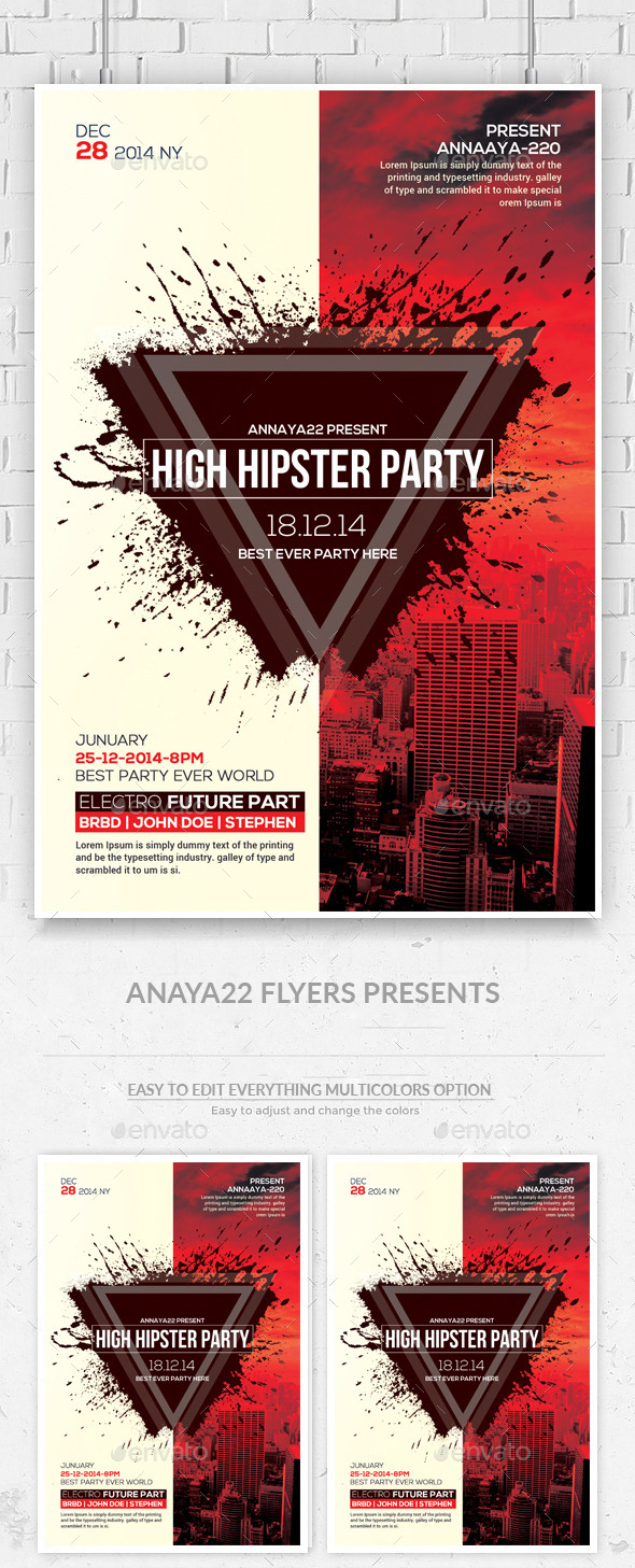Hipster Party Flyers Psd Template  - Clubs & Parties Events