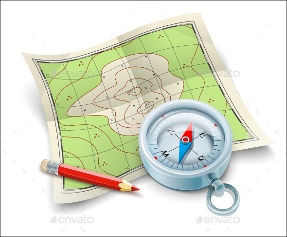 Compass Map and Pencil For Tourism Travel - Sports/Activity Conceptual