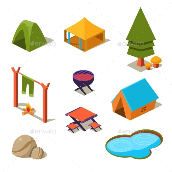 Isometric 3d Forest Camping Elements For Landscape - Nature Conceptual