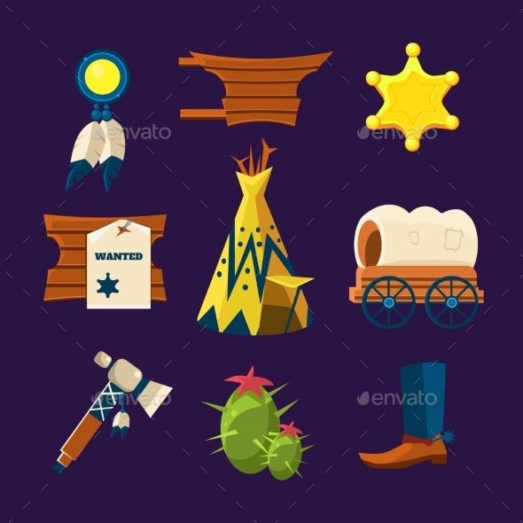 Wild West Cowboy Flat Icons  - Miscellaneous Vectors
