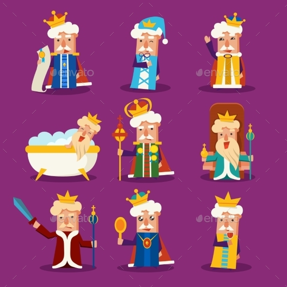 King Cartoon Illustration Set - Monsters Characters