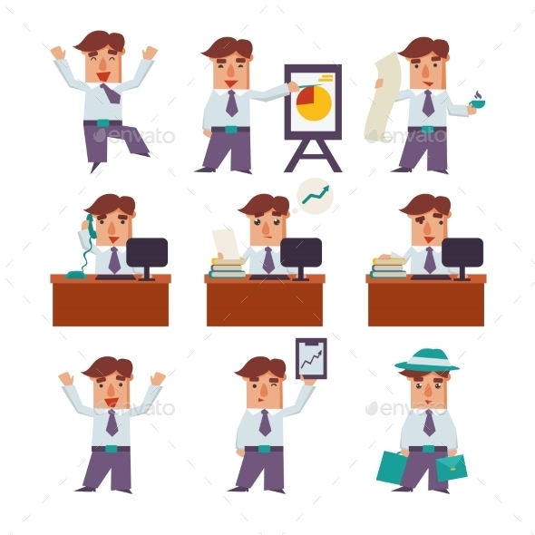 Set Of Businessman Activities Vector - People Characters