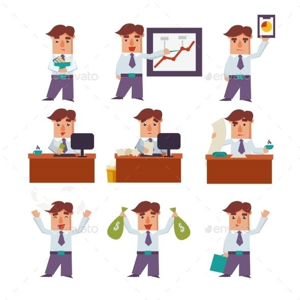 Set Of Businessman Activities Vector - People Characters