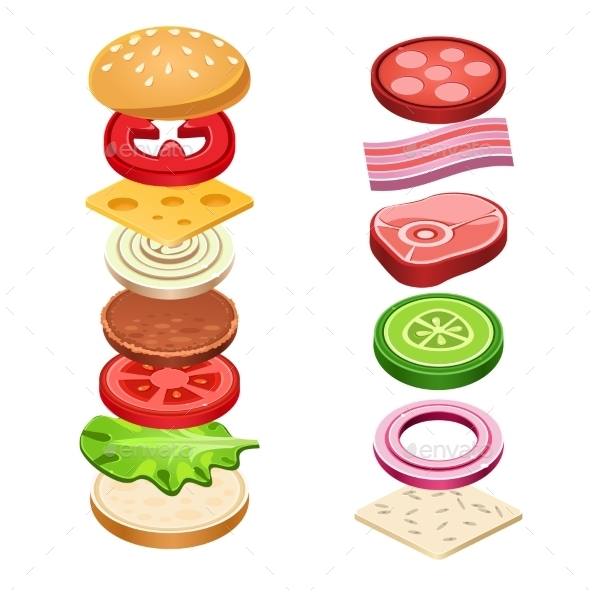 Sandwich Ingredients Food Vector Illustration - Food Objects