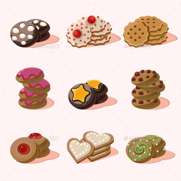 Cookies Of Cartoon Vector Food Icons - Food Objects