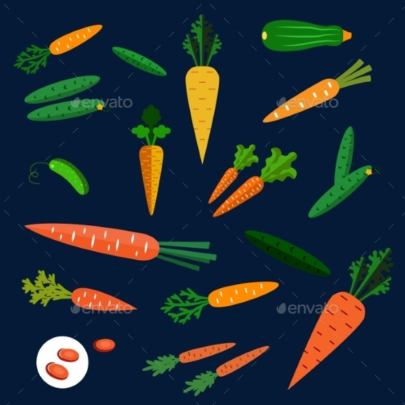 Healthy Carrot And Cucumber Flat Vegetables - Food Objects