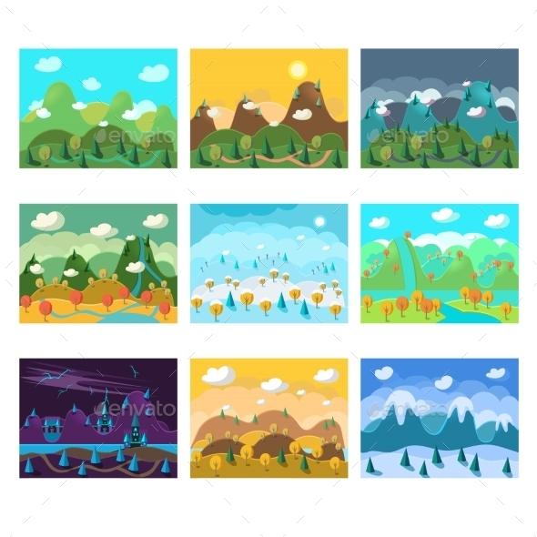 Vector Landscape Cartoon Seamless Backgrounds Set  - Backgrounds Decorative