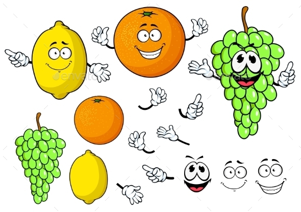 Happy Cartoon Grape, Lemon And Orange Fruits - Food Objects