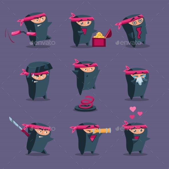 Collection Of Cute Cartoon Ninja  - People Characters