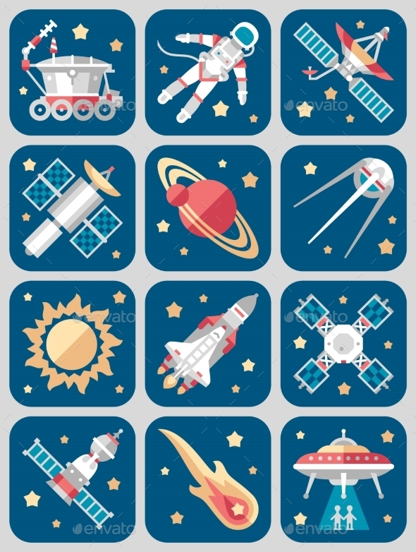 Vector Illustration Set On Space  - Computers Technology