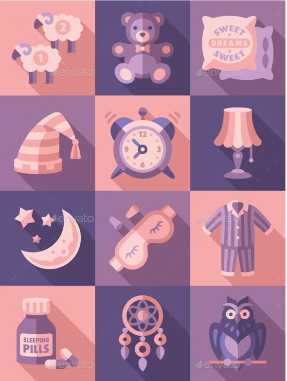 Sleep Time Icons Flat Vector Illustration - Web Technology