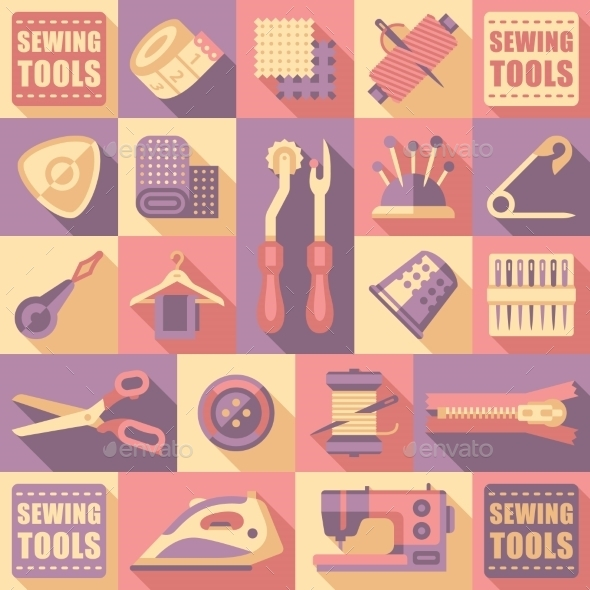 Sewing Tailoring And Needlework Decorative Icons - Miscellaneous Vectors