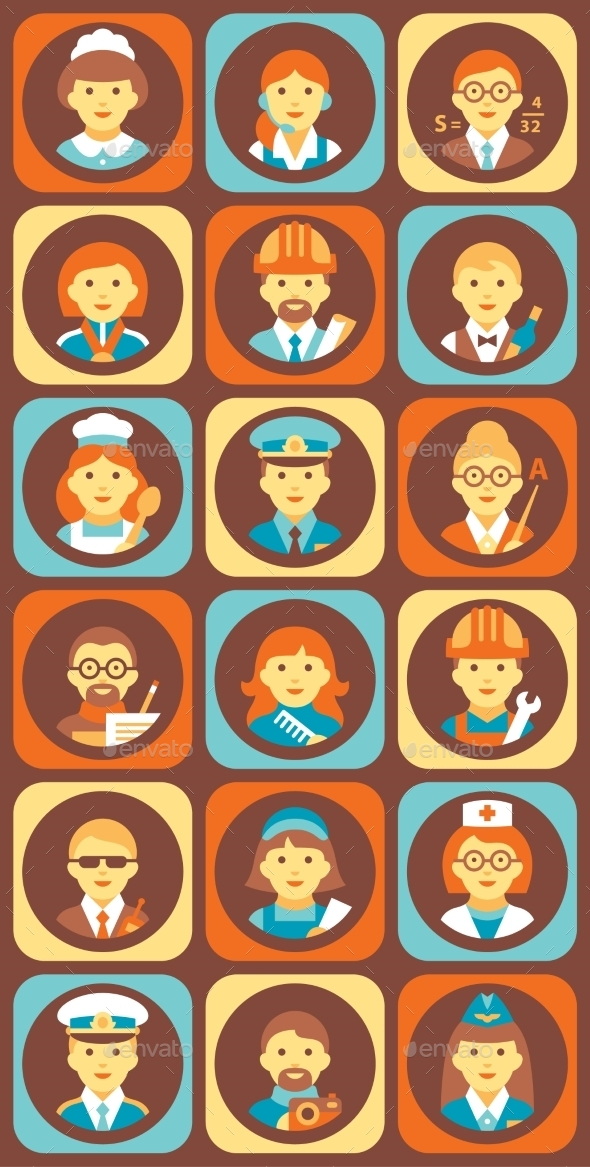 Set Of Colorful Profession People Flat Style Icons - People Characters