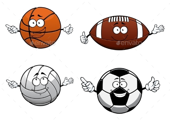 Cartooned Sports Balls Characters With Happy Face - Sports/Activity Conceptual
