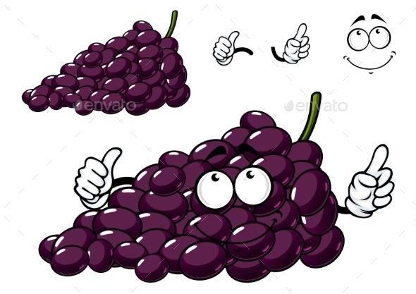Cartoon Purple Grape Fruit Character - Food Objects