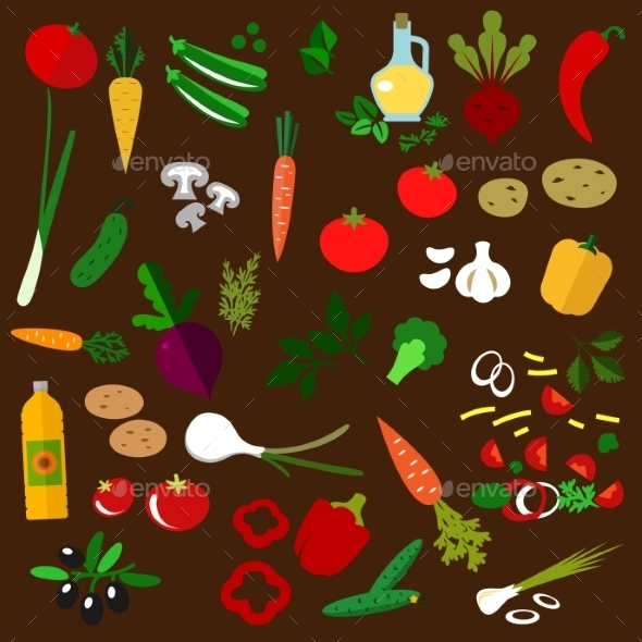 Ingredients Of Fresh Vegetable Salad - Food Objects