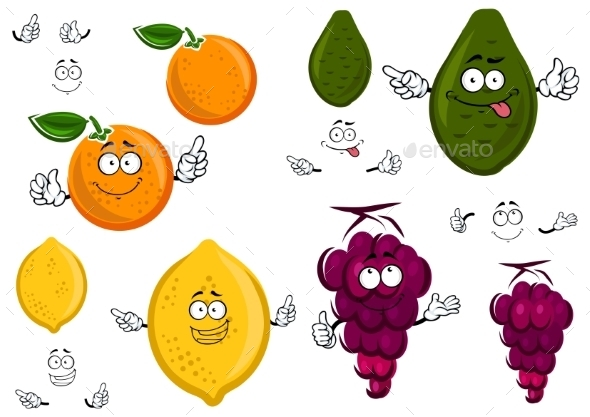 Funny Cartoon Isolated Fruit Characters - Food Objects