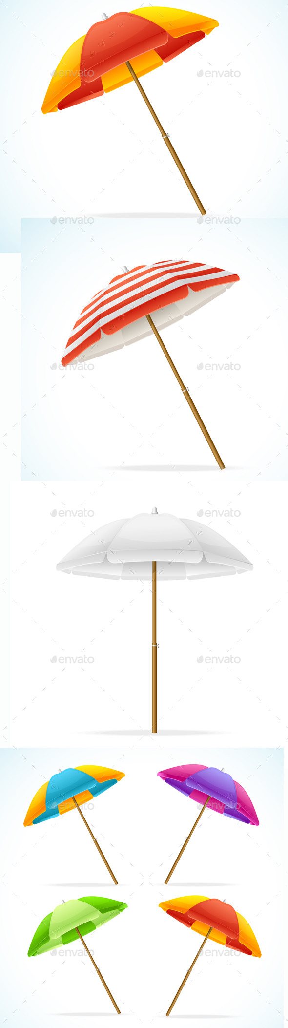 Vector Beach Umbrella Set - Objects Vectors