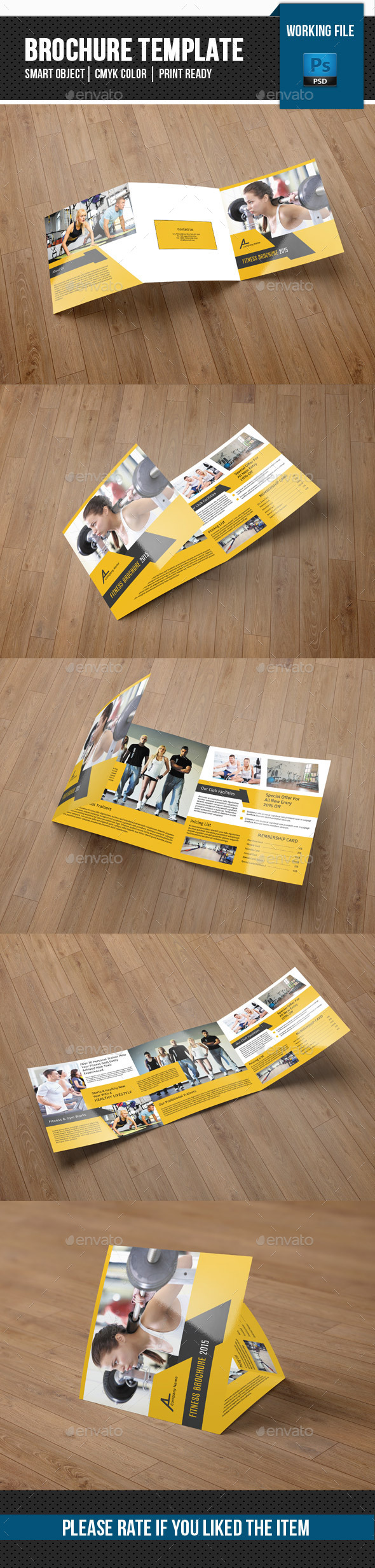 Square Trifold for Gym Fitness Center - Corporate Brochures