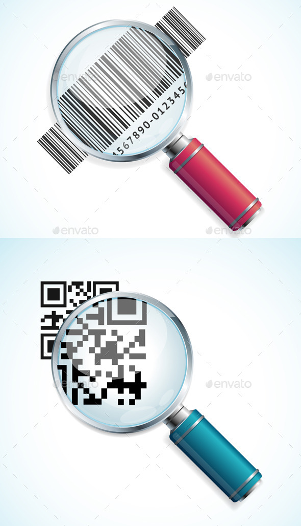 Vector Magnifier with QR Code and Barcode - Services Commercial / Shopping