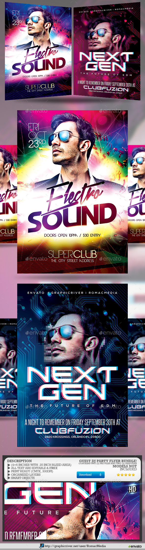 Guest DJ Party Flyer Bundle 2 - Clubs & Parties Events