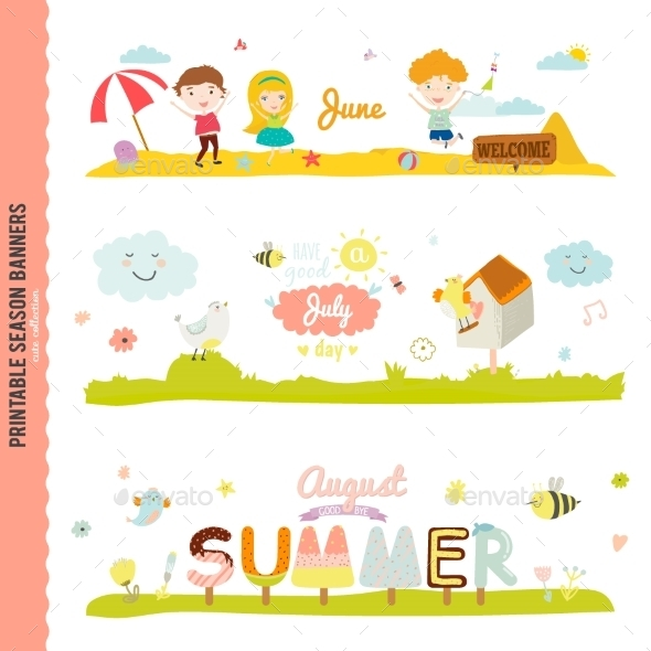 Monthly Seasonally Vector Backgrounds Banners - Seasons Nature