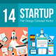 14 Startup Flat Design Concept  - GraphicRiver Item for Sale