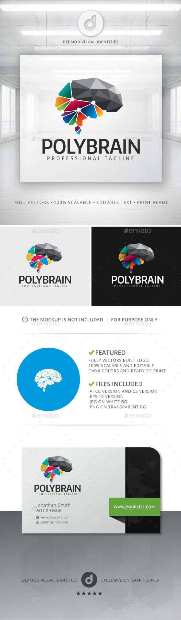 Poly Brain Logo - Symbols Logo Templates