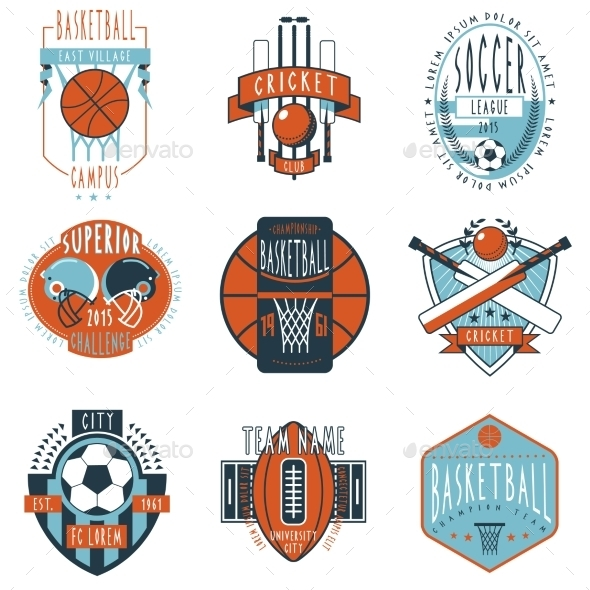 Sport Clubs Labels Icons Set - Sports/Activity Conceptual