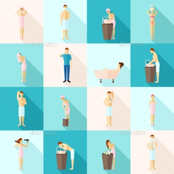 Personal Hygiene Flat Icons Set - People Characters