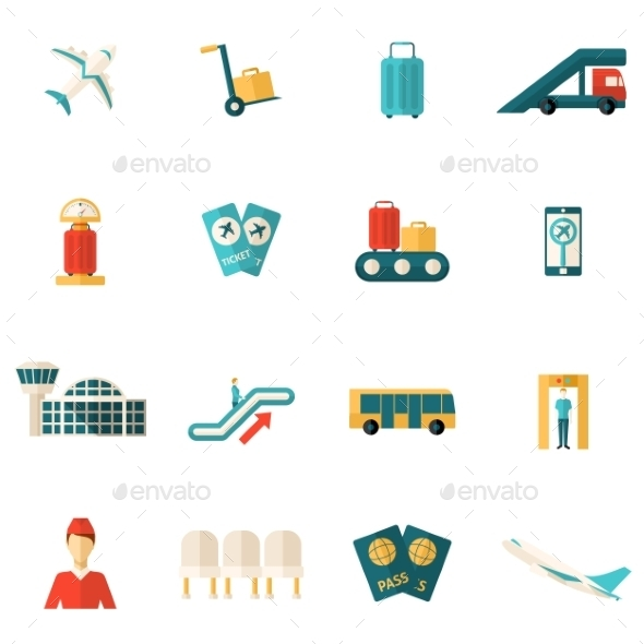 Airport Icons Flat - Miscellaneous Icons