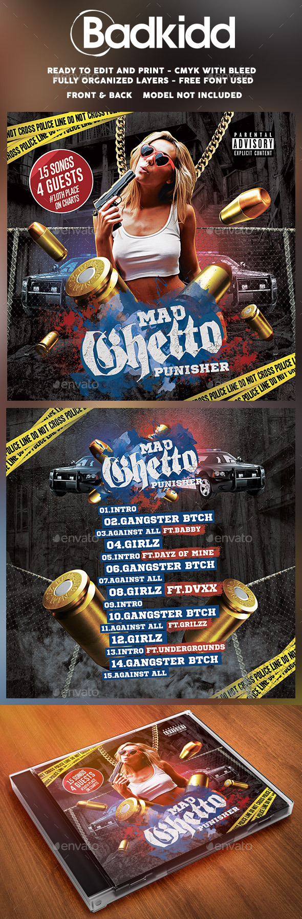 Mixtape Cover Mad Ghetto - CD & DVD Artwork Print Templates