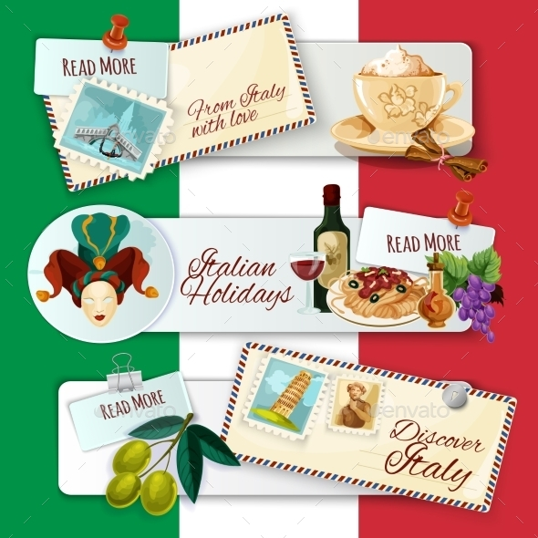 Italy Touristic Banners - Travel Conceptual
