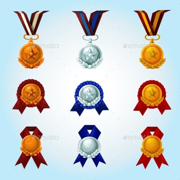 Medals Cartoon Set - Decorative Vectors