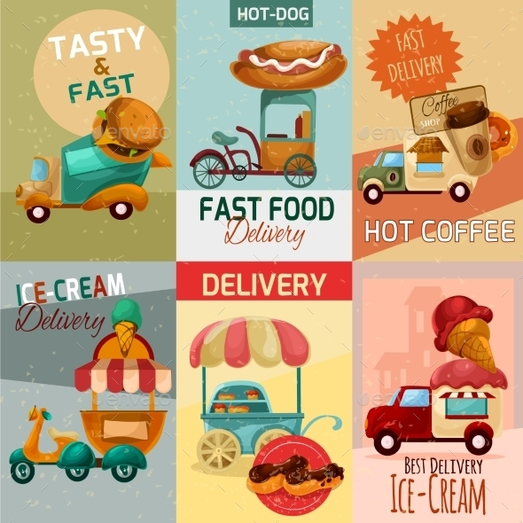Fast Food Delivery Posters - Food Objects