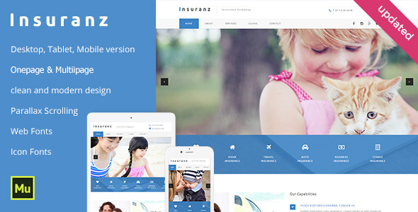 Insuranz - Insurance Services Template - Corporate Muse Templates