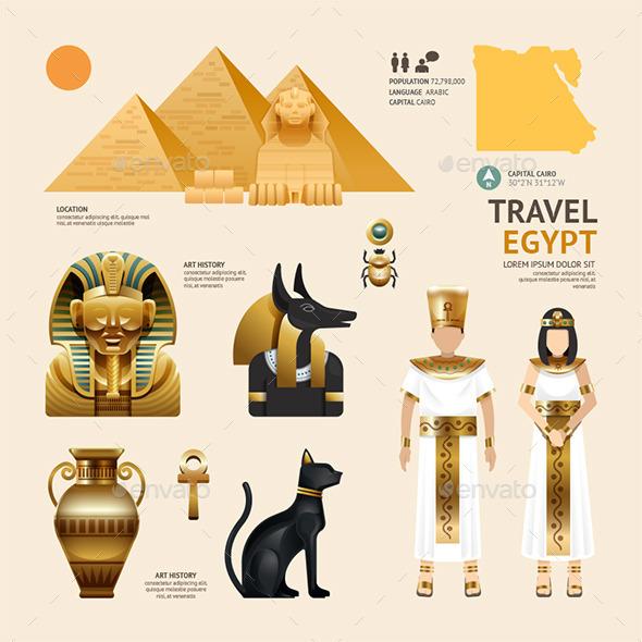 Egypt Flat Icons Design Travel Concept. - Travel Conceptual