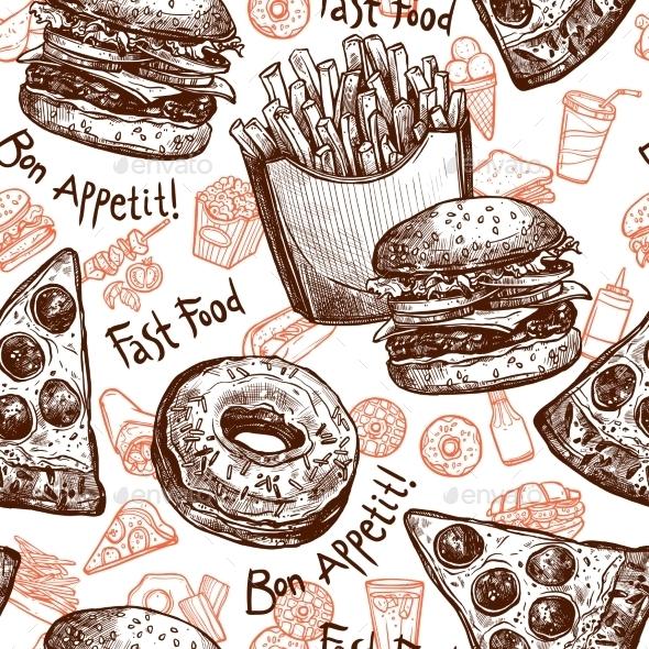 Fast Food Seamless Pattern - Food Objects