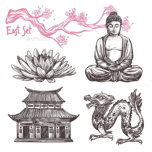 Asian Sketch Set - Miscellaneous Vectors