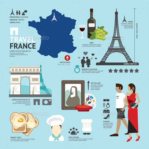 France Flat Icons Design Travel Concept - Travel Conceptual