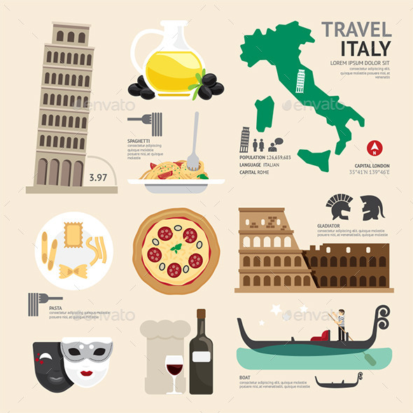 Italy Flat Icons Design Travel Concept - Travel Conceptual
