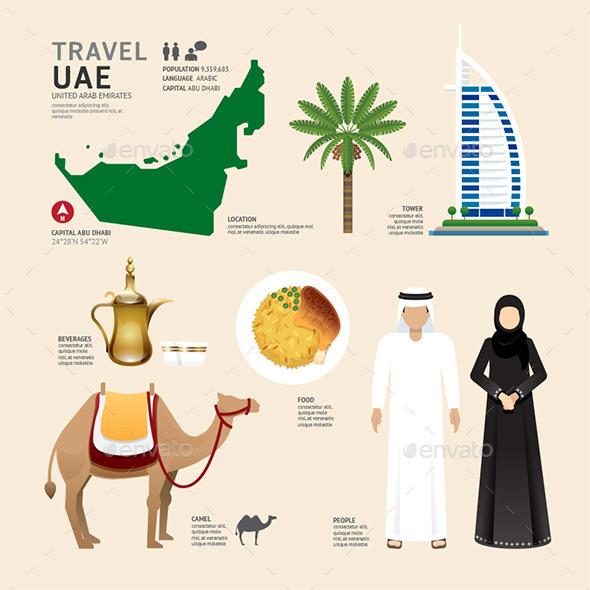 UAE United Arab Emirates Flat Icons Design - Travel Conceptual