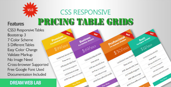 CSS3 Flat Responsive Pricing Table - CodeCanyon Item for Sale