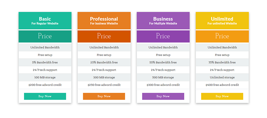 Css3 flat responsive pricing table by dreamweblab codecanyon for Table design css3