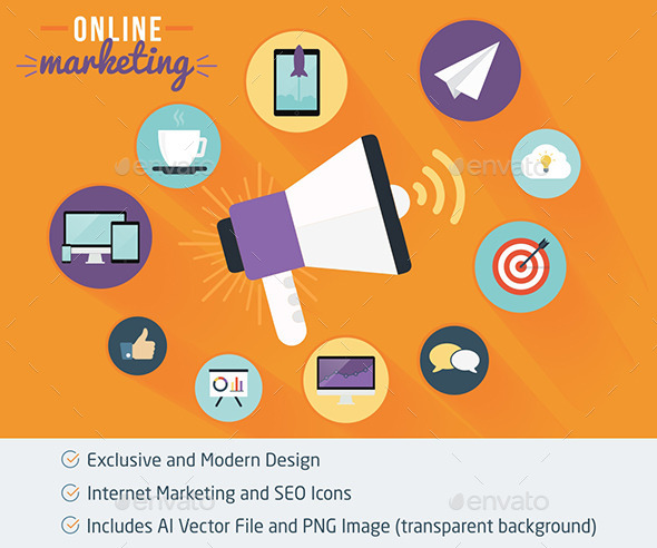 Online Marketing and SEO Flat Icons - Web Icons