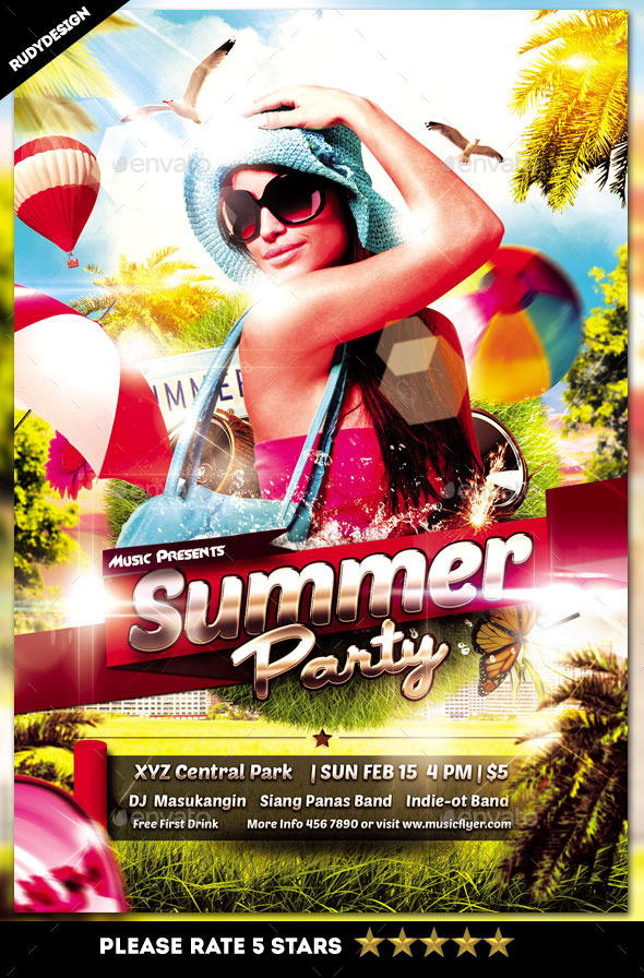 Stylish Summer Party Flyer - Clubs & Parties Events