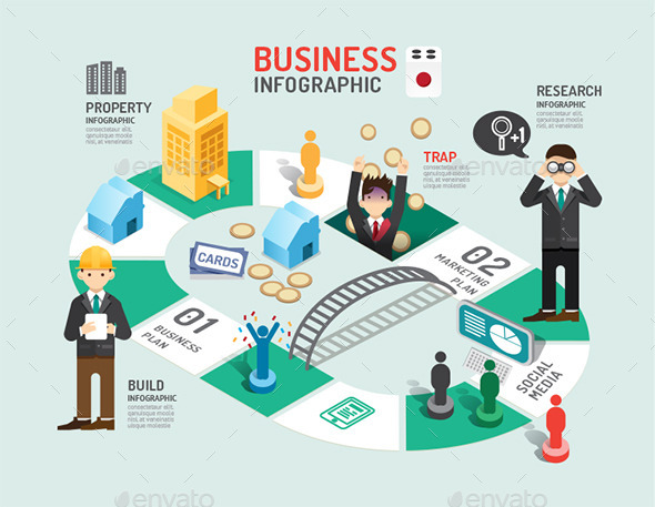 Business Board Game Concept Infographic - Concepts Business