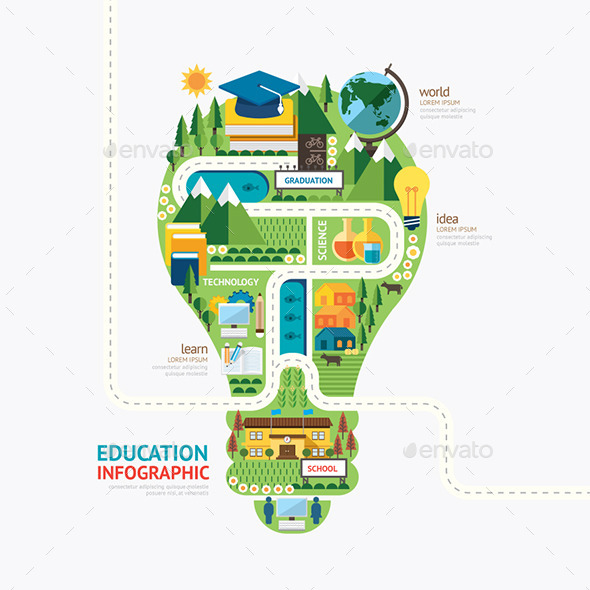 Infographic Education Light Bulb Shape Template . - Abstract Conceptual
