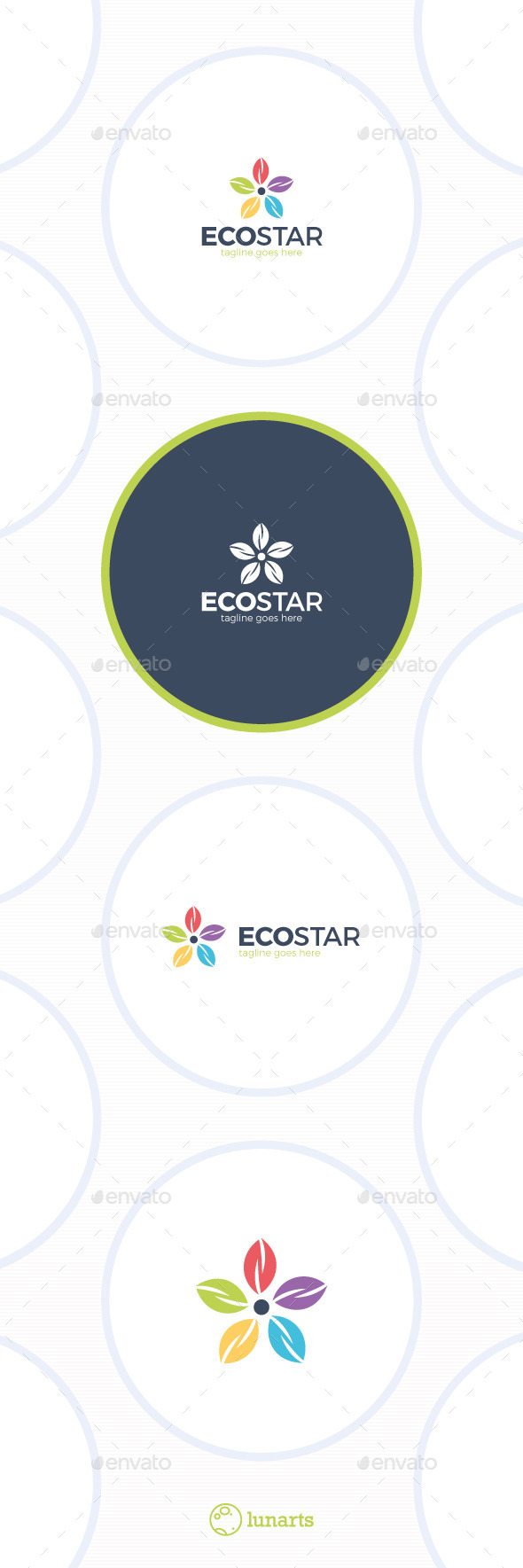 Eco Star Logo - Colorful Flower - Nature Logo Templates