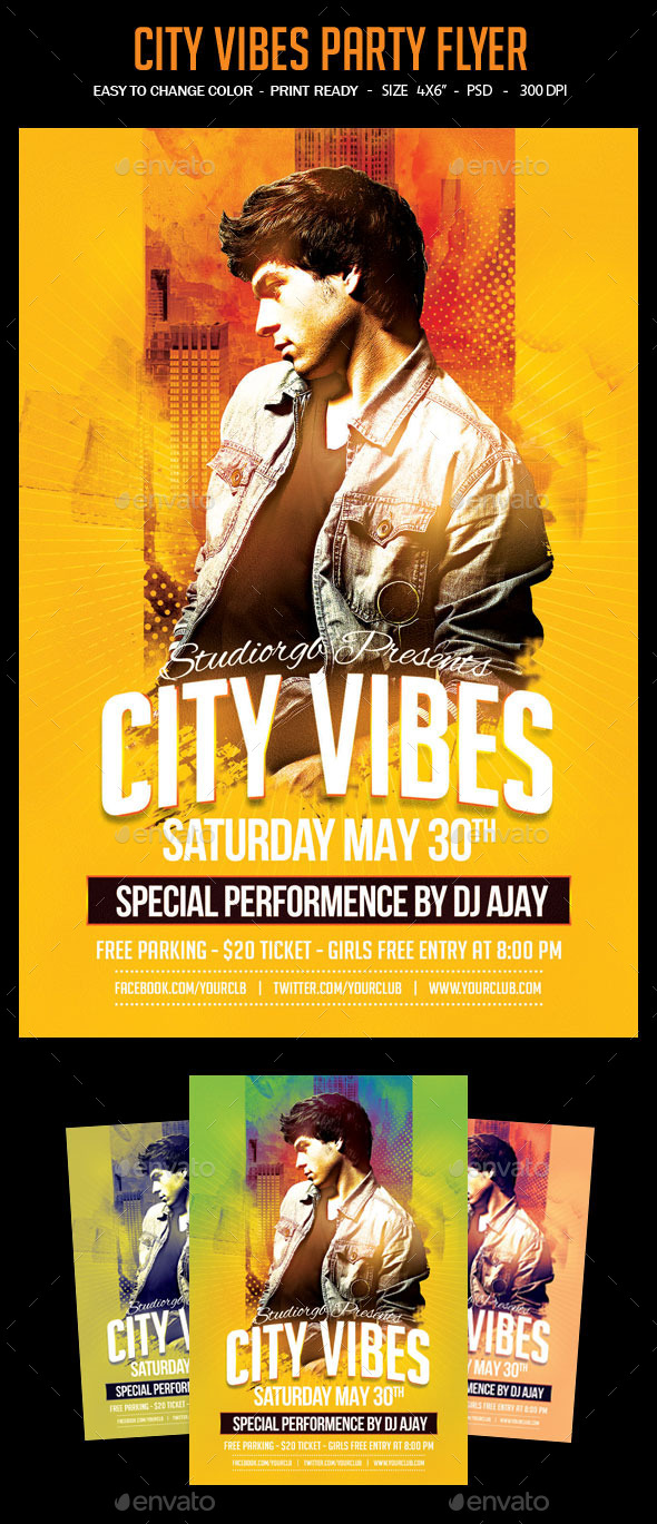 City Vibes Party Flyer - Clubs & Parties Events